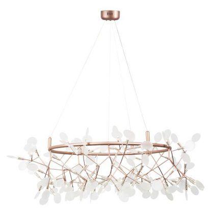 Miedziana lampa do salonu styl nowoczesny