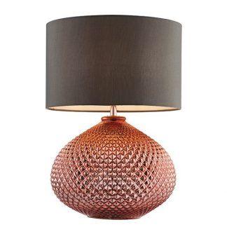 miedziana lampa stołowa z abażurem - delikatne wzory