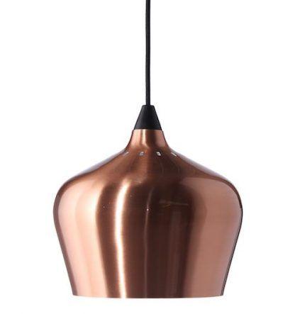 miedziana lampa wisząca do kuchni nad blat