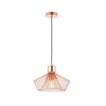 miedziana lampa wisząca druciak do pokoju