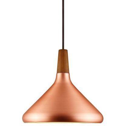 miedziana lampa wisząca w stylu skandynawskim