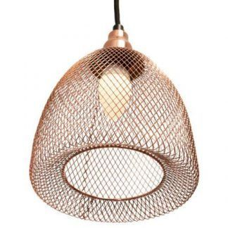 miedziana lampa wisząca z drucianej siatki