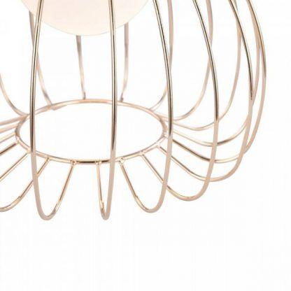 miedziana lampa wisząca z drutów - nowoczesny klosz