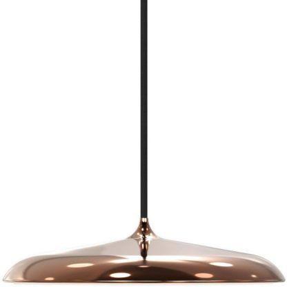 miedziana lampa wisząca z płaskim kloszem LED