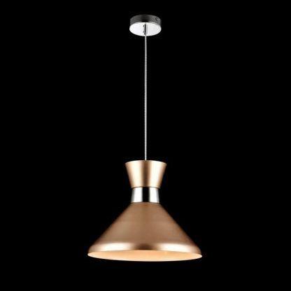 miedziana lampa wisząca ze srebrnymi detalami