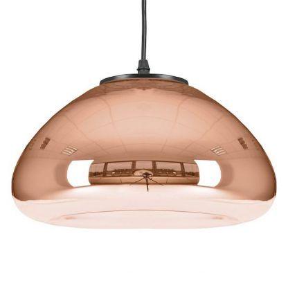 miedziana lampa wisząca ze szklanym kloszem