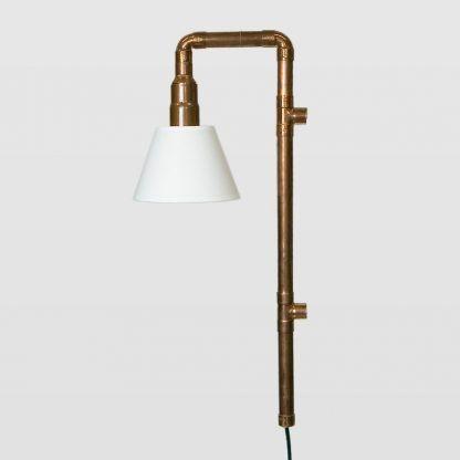 miedziana lampa z rur - biały abażur