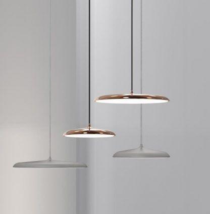 miedziane i szare lampy z płaskim kloszem nowoczesne