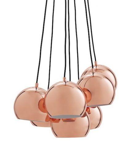 miedziane kule - lampy wiszace ball 7 żarówek