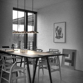 miedziane lampy nad stół aranżacja jadalnia