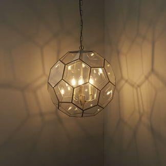 miele szklana lampa wisząca w złotej oprawie