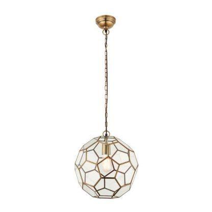 miele szklany wielościan lampa wisząca mosiądz