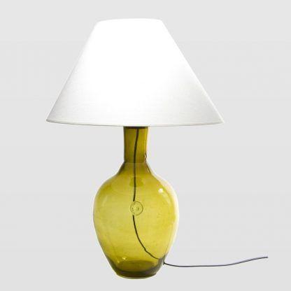 miodowa lampa stojąca z abażurem - nowoczesny design