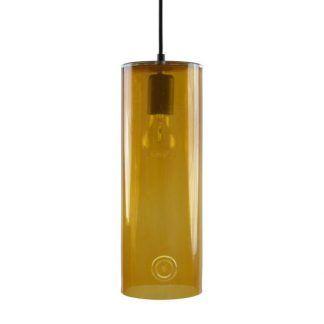 miodowa lampa wisząca ze szkła tuba do salonu