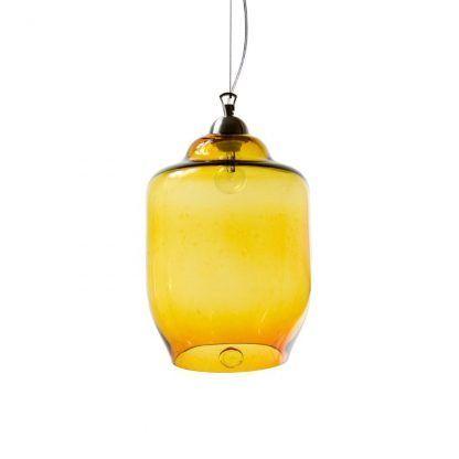 miodowo żółta lampa szklana z kloszem na 1 żarówkę