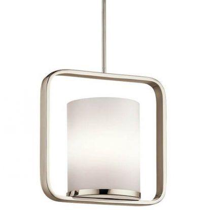 Mleczny klosz na srebrnej metalowej ramie do salonu