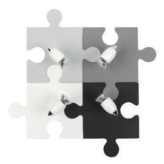 młodzieżowa lampa sufitowa puzzle szarość