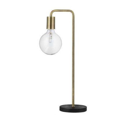 mosiężna lampa stołowa z żarówką dekoracyjną