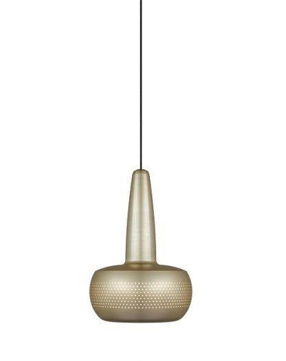 mosięzna lampa wisząca mała - ciekawy kształt