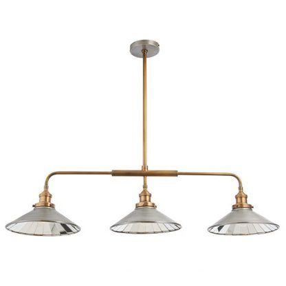 mosiężna lampa wisząca potrójna w stylu industrialnym