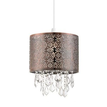 Mosiężna lampa z ażurowym kloszem i kryształkami