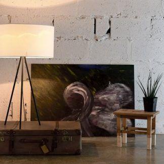 nastrojowa lampa podłogowa trójnóg z abażurem