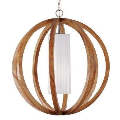 naturalna lampa drewniana - nowoczesna wisząca kuchnia