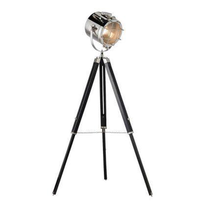 nautical srebrny reflektor podłogowy czarny trójnóg