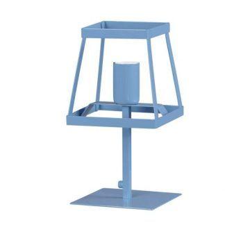 niebieska lampa stołowa ażurowa geometryczna