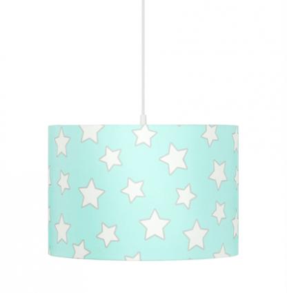 Niebieska lampa wisząca w białe gwiazdki do sypialni