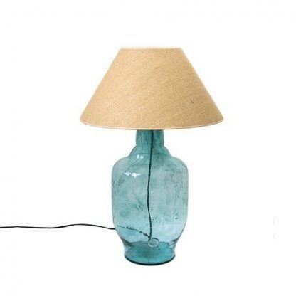 niebieska szklana lampa z tkanym abażurem z juty