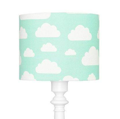 Niebieski abażur w białe chmurki lampa podłogowa
