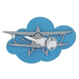 niebieski kinkiet chłopięcy samolot na chmurce