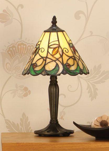 nieduża lampa stołowa ze szkła witrażowego