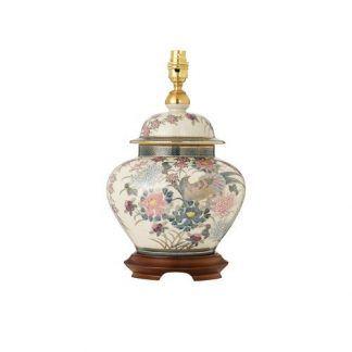 niewysoka lampa stołowa z porcelany w kwiaty