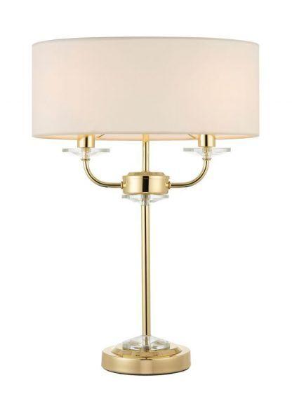nixon złota lampa stołowa na dwie żarówki