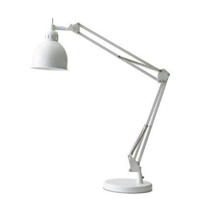 nowoczesna biała lampa biurkowa ze zginanym ramieniem