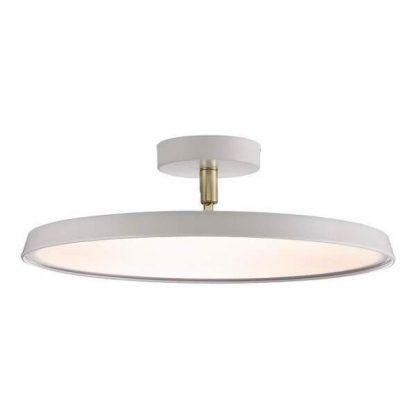 Nowoczesna biała lampa sufitowa z płaskim kloszem