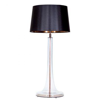 nowoczesna elegancka lampa stołowa z czarnym abażurem