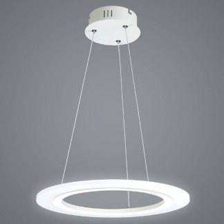 nowoczesna lampa led okręg na linkach do salonu