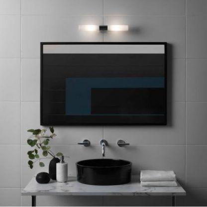 nowoczesna lampa nad lustro w łazience - srebrno biała