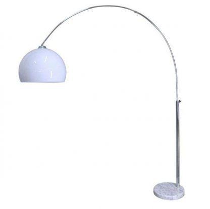 nowoczesna lampa podłogowa na łukowym ramieniu - biała