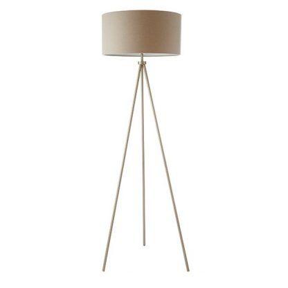 nowoczesna lampa podłogowa trójnóg jasny abażur