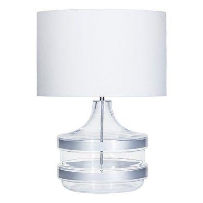 nowoczesna lampa stołowa z białym abażurem