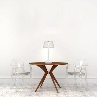 nowoczesna lampa stołowa z kloszem z tworzywa