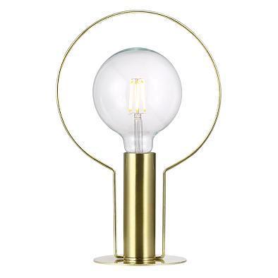 Nowoczesna lampa stołowa ze złotego metalu