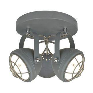 nowoczesna lampa sufitowa w stylu industrialnym - szary