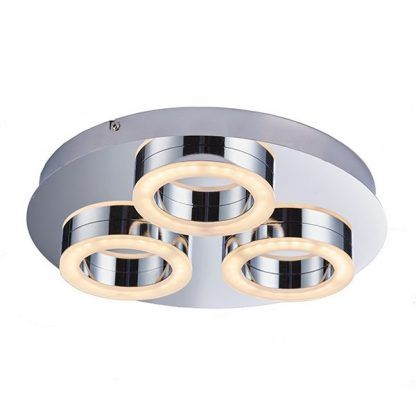 nowoczesna lampa sufitowa z kółkami led - srebrna