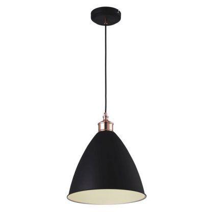 Nowoczesna lampa wisząca czarna z miedzianymi zdobieniami