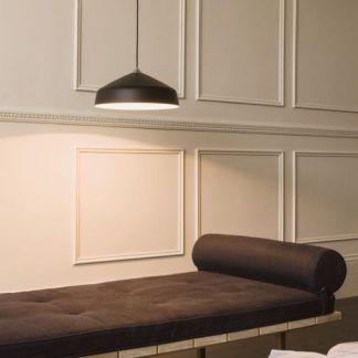 nowoczesna lampa wisząca czarna z otwartym kloszem